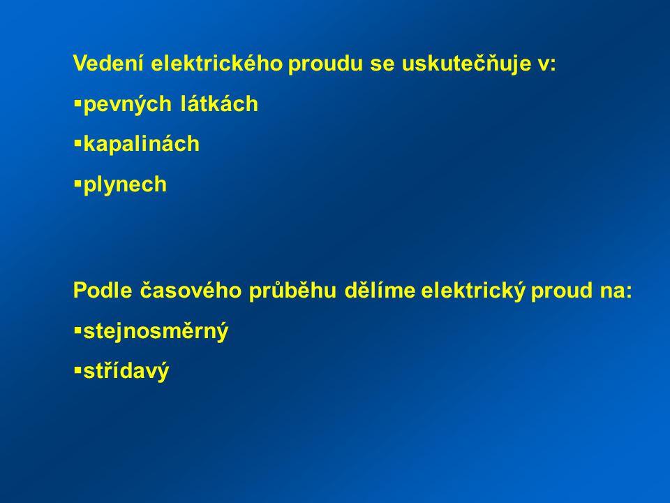 Vedení elektrického proudu se uskutečňuje v:  pevných látkách  kapalinách  plynech Podle časového průběhu dělíme elektrický proud na:  stejnosměrný  střídavý