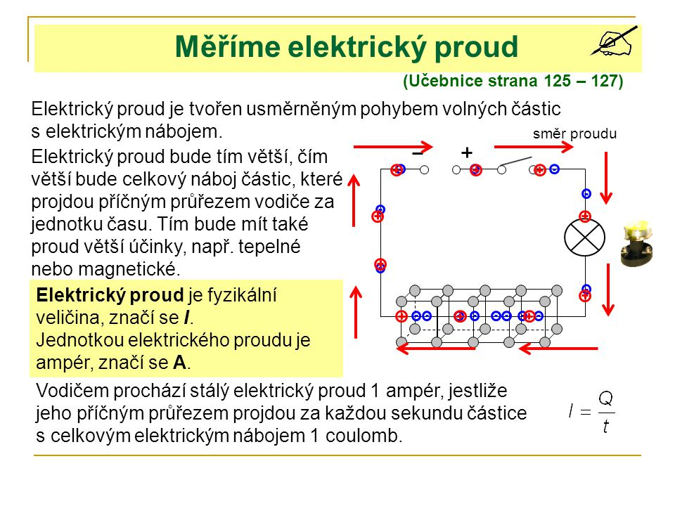 Měříme elektrický proud (Učebnice strana 125 – 127) Elektrický proud je tvořen usměrněným pohybem volných částic s elektrickým nábojem. Elektrický pro