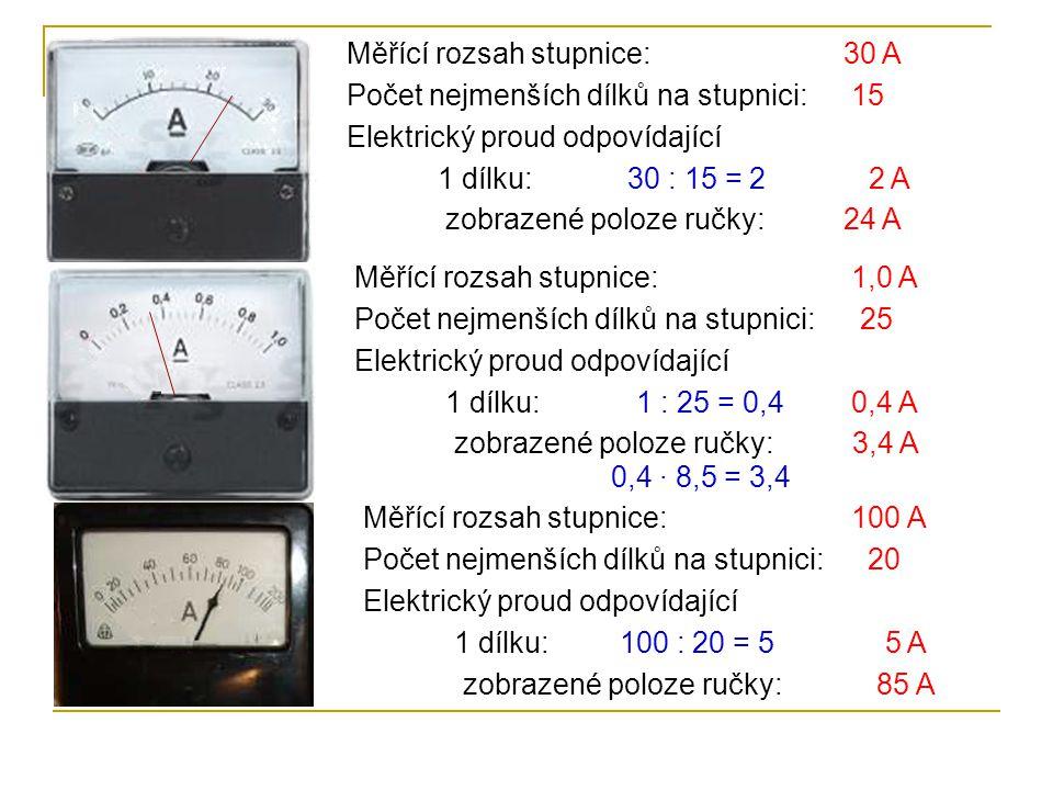 Měřící rozsah stupnice: Počet nejmenších dílků na stupnici: Elektrický proud odpovídající 1 dílku: zobrazené poloze ručky: 30 A 15 30 : 15 = 2 2 A 24