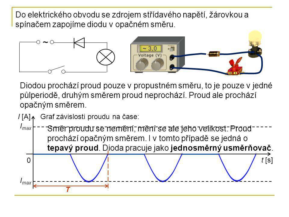 Do elektrického obvodu se zdrojem střídavého napětí, žárovkou a spínačem zapojíme diodu v opačném směru. ~ ~ 3,0 Diodou prochází proud pouze v propust