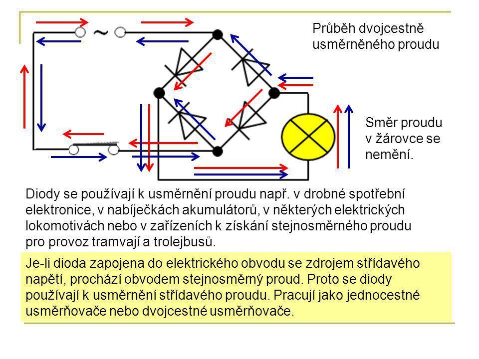 Je-li dioda zapojena do elektrického obvodu se zdrojem střídavého napětí, prochází obvodem stejnosměrný proud. Proto se diody používají k usměrnění st