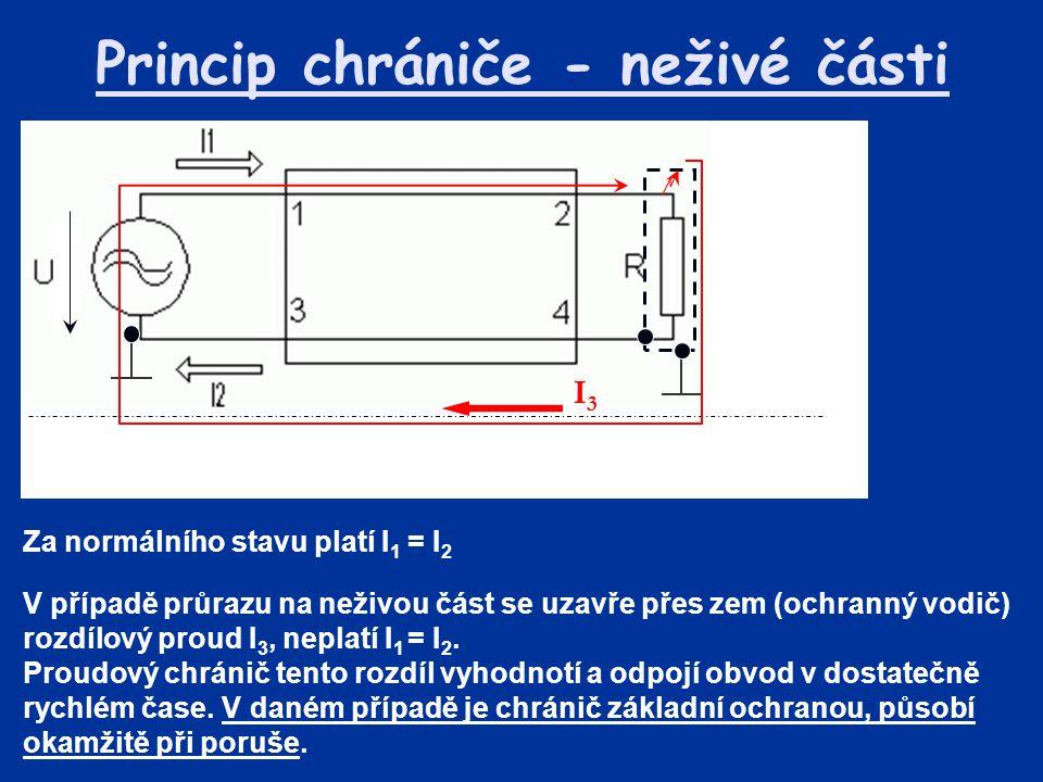 Princip chrániče - neživé části V případě průrazu na neživou část se uzavře přes zem (ochranný vodič) rozdílový proud I 3, neplatí I 1 = I 2. Proudový