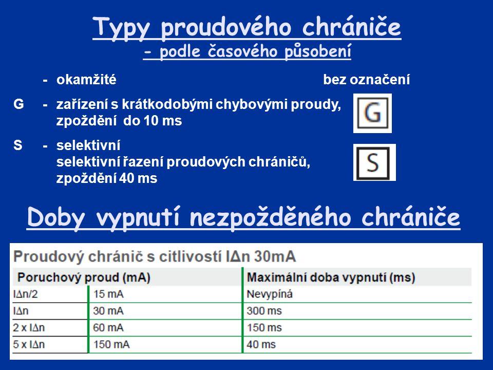Typy proudového chrániče - podle časového působení -okamžitébez označení G-zařízení s krátkodobými chybovými proudy, zpoždění do 10 ms S-selektivní se