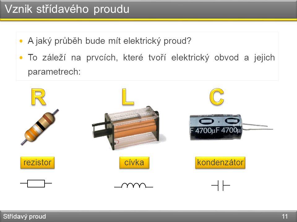 Vznik střídavého proudu Střídavý proud 11 A jaký průběh bude mít elektrický proud? To záleží na prvcích, které tvoří elektrický obvod a jejich paramet