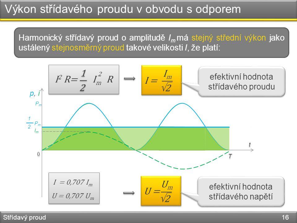 Výkon střídavého proudu v obvodu s odporem Střídavý proud 16 t t 0 0 PmPm p, i PmPm 1212 T T ImIm I 2 R= I R 2 m 1 2 1 2 I = I m  2 efektivní hodnota