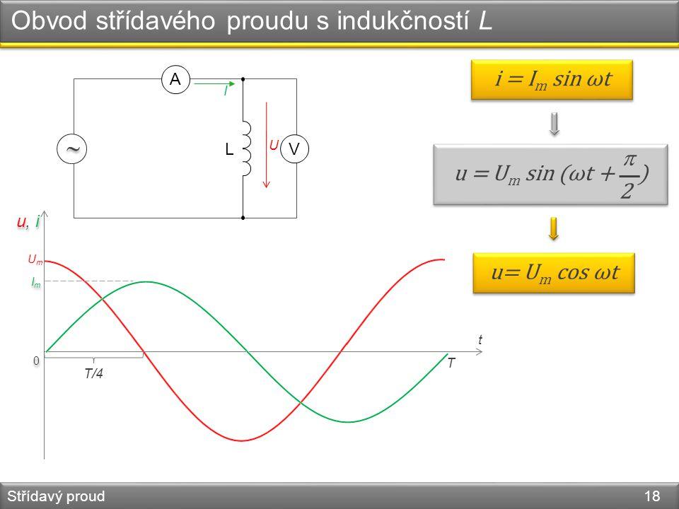 Obvod střídavého proudu s indukčností L Střídavý proud 18 0 0 UmUm u, i ImIm ImIm i = I m sin ωt L   V A I U u = U m sin (ωt + ) 2 2 u= U m cos ωt