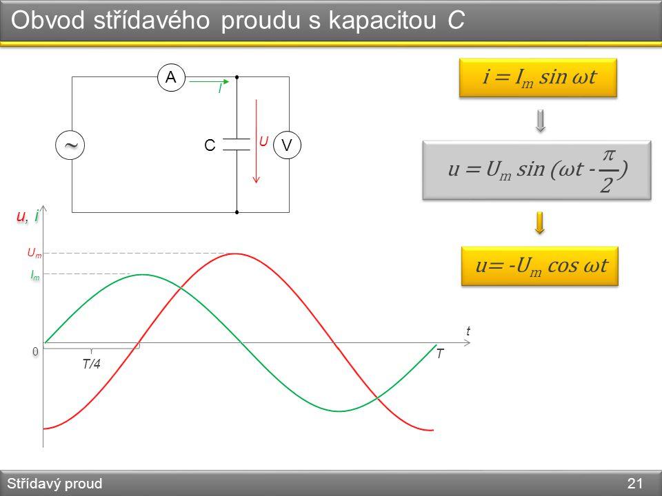 Obvod střídavého proudu s kapacitou C Střídavý proud 21 0 0 UmUm u, i ImIm ImIm i = I m sin ωt C   V A I U u = U m sin (ωt - ) 2 2 u= -U m cos ωt