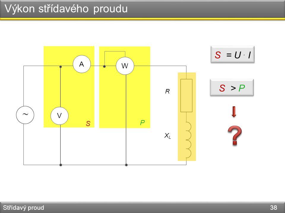 Výkon střídavého proudu Střídavý proud 38  XLXL R A V W S P S = U. I S > P