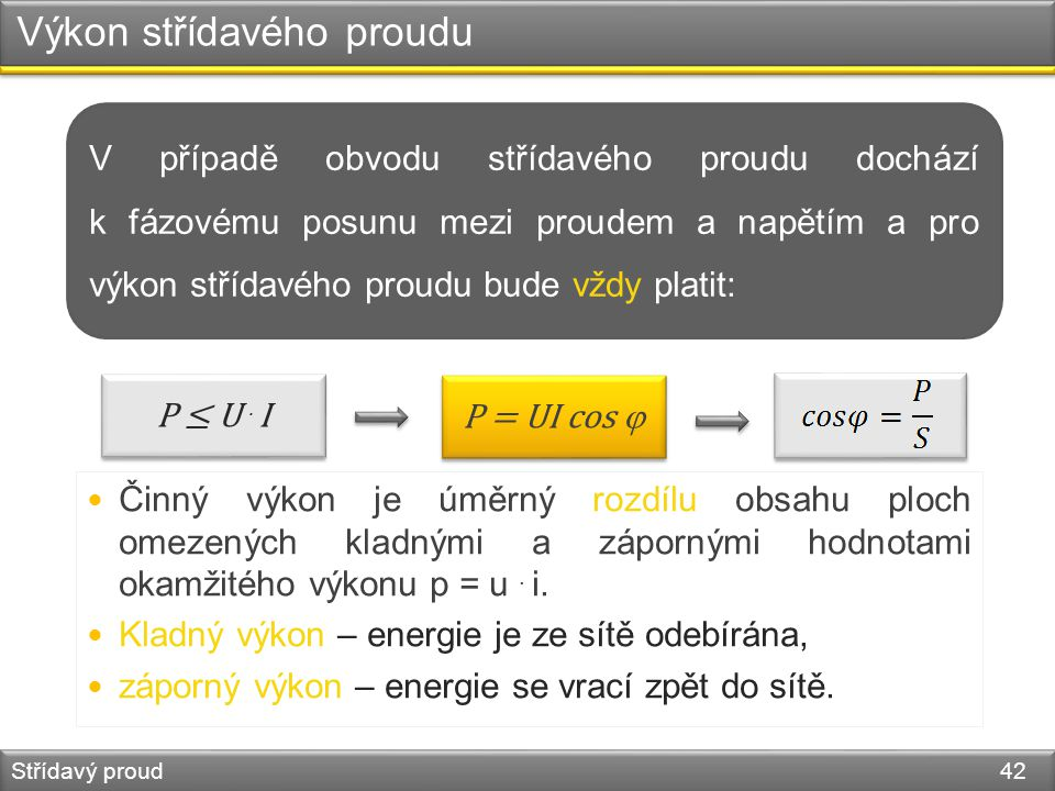Výkon střídavého proudu Střídavý proud 42 P = UI cos  P ≤ U. I V případě obvodu střídavého proudu dochází k fázovému posunu mezi proudem a napětím a