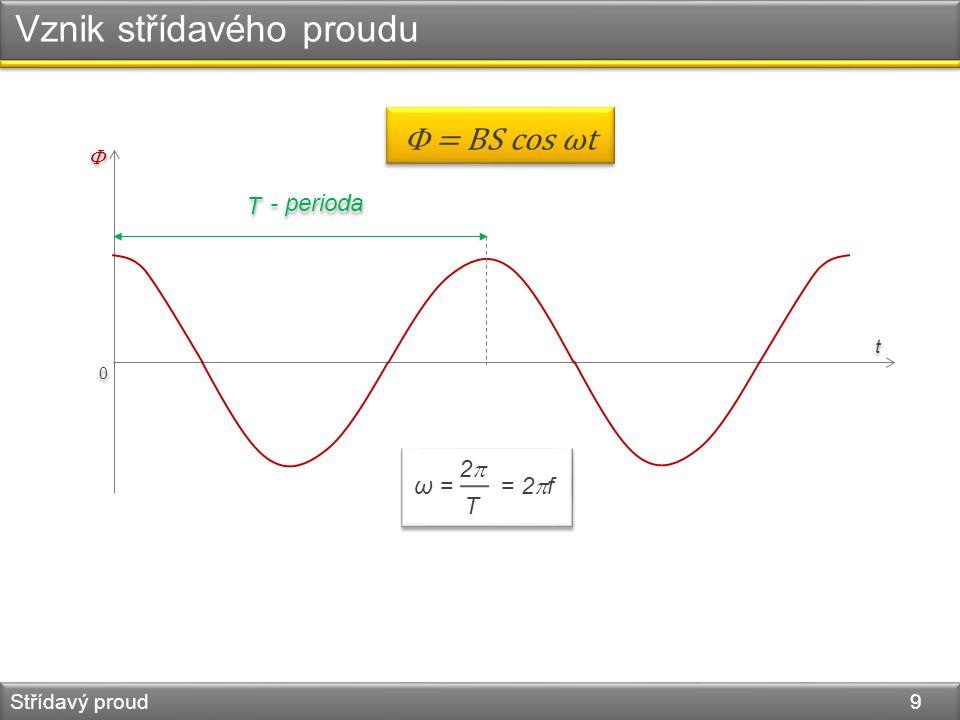 Vznik střídavého proudu Střídavý proud 9 0 0   t t  = BS cos ωt T T - perioda ω = = 2  f 2T2T