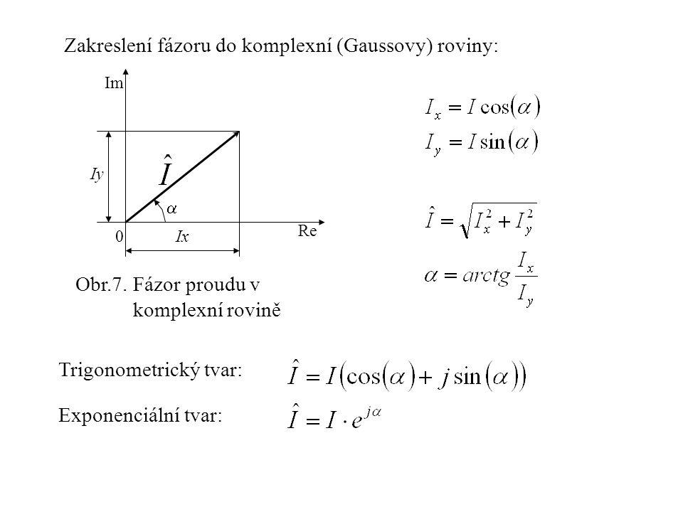 Zakreslení fázoru do komplexní (Gaussovy) roviny: Ix Re Im Iy 0  Obr.7. Fázor proudu v komplexní rovině Trigonometrický tvar: Exponenciální tvar: