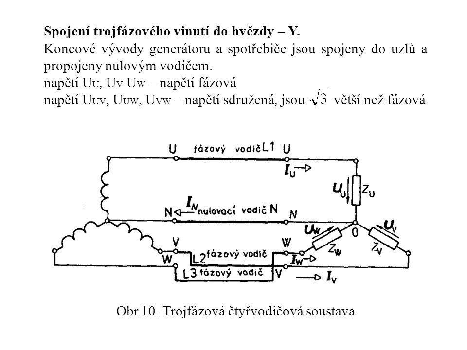 Spojení trojfázového vinutí do hvězdy – Y. Koncové vývody generátoru a spotřebiče jsou spojeny do uzlů a propojeny nulovým vodičem. napětí U U, U V U