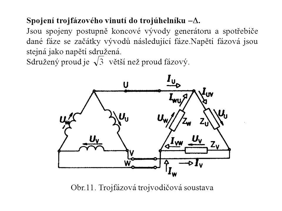 Obr.11. Trojfázová trojvodičová soustava Spojení trojfázového vinutí do trojúhelníku – . Jsou spojeny postupně koncové vývody generátoru a spotřebiče