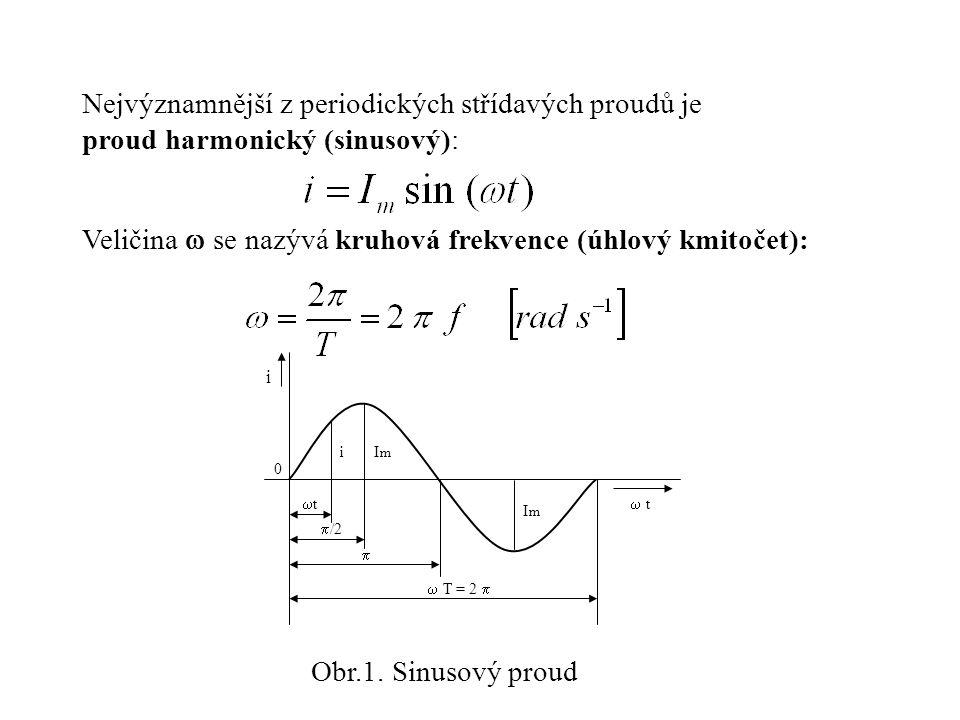 Nejvýznamnější z periodických střídavých proudů je proud harmonický (sinusový): Veličina  se nazývá kruhová frekvence (úhlový kmitočet): 0  i i  t