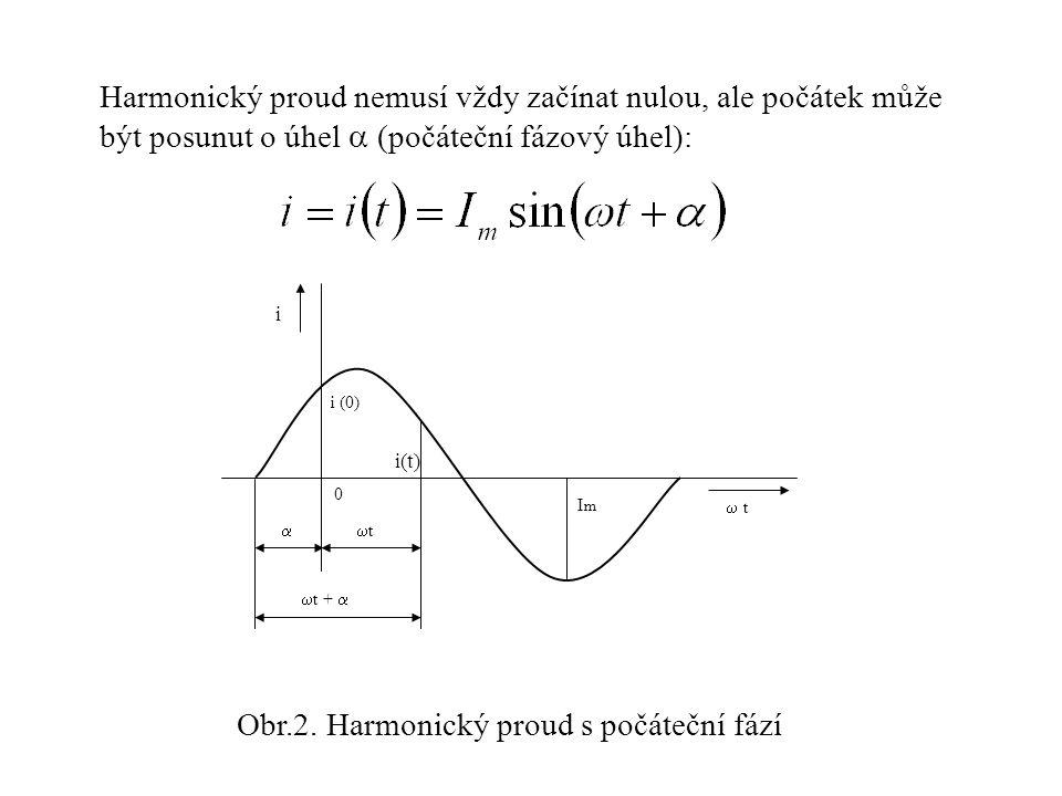 Harmonický proud nemusí vždy začínat nulou, ale počátek může být posunut o úhel  (počáteční fázový úhel): ImIm 0 i (0) i  t t t   t +  i(t) Obr