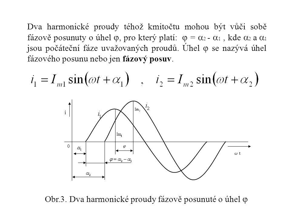 Dva harmonické proudy téhož kmitočtu mohou být vůči sobě fázově posunuty o úhel , pro který platí:  =  2 -  1, kde  2 a  1 jsou počáteční fáze u