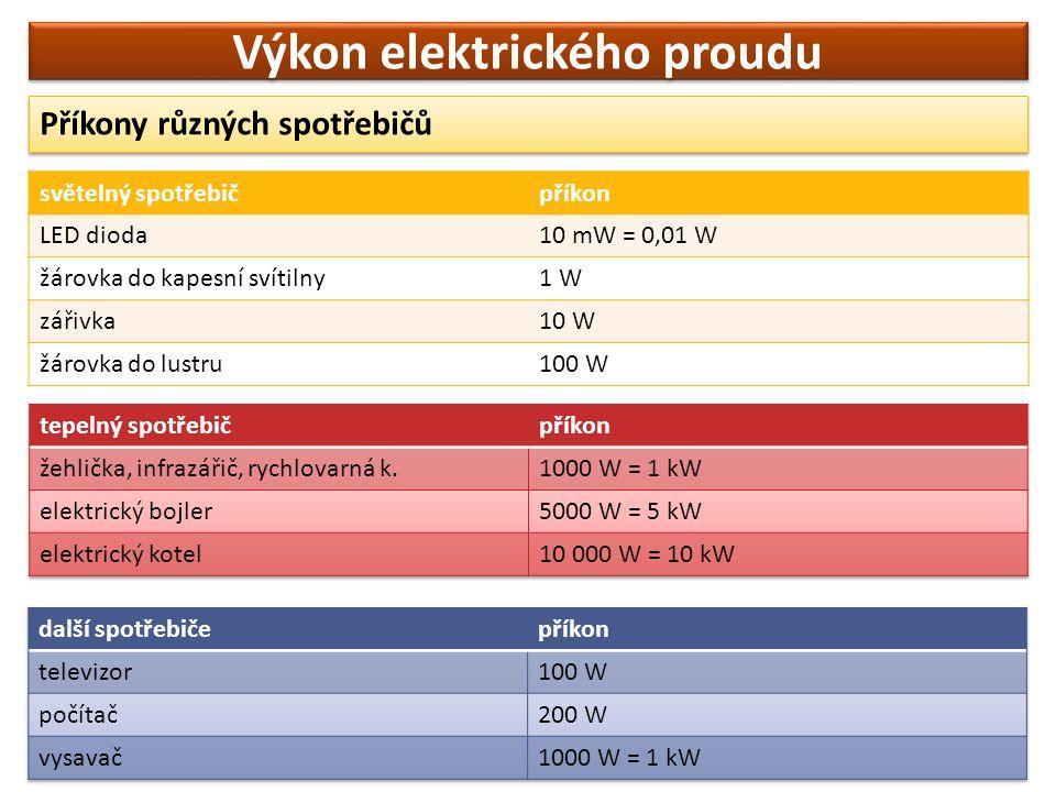 Výkon elektrického proudu Příkony různých spotřebičů světelný spotřebičpříkon LED dioda10 mW = 0,01 W žárovka do kapesní svítilny1 W zářivka10 W žárov