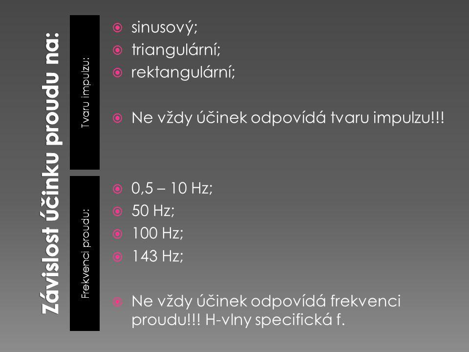 Tvaru impulzu: Frekvenci proudu:  sinusový;  triangulární;  rektangulární;  Ne vždy účinek odpovídá tvaru impulzu!!!  0,5 – 10 Hz;  50 Hz;  100