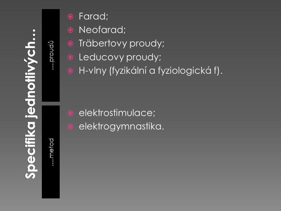 ….proudů ….metod  Farad;  Neofarad;  Träbertovy proudy;  Leducovy proudy;  H-vlny (fyzikální a fyziologická f).  elektrostimulace;  elektrogymn