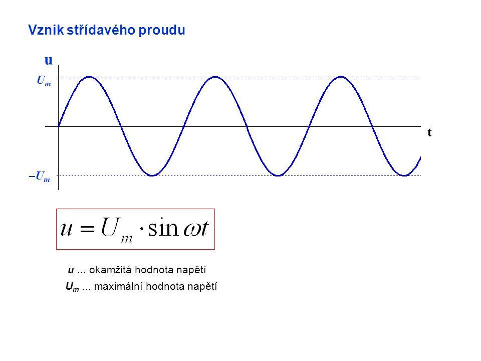 Vznik střídavého proudu t u UmUm –U m u... okamžitá hodnota napětí U m... maximální hodnota napětí