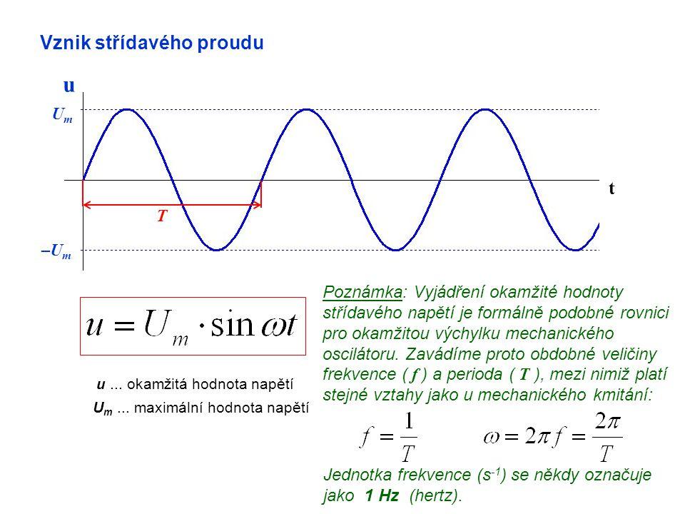 Vznik střídavého proudu t u UmUm –U m u... okamžitá hodnota napětí U m... maximální hodnota napětí Poznámka: Vyjádření okamžité hodnoty střídavého nap