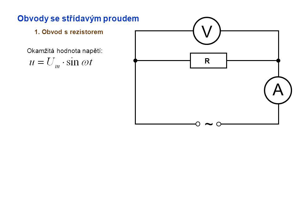 Obvody se střídavým proudem 1. Obvod s rezistorem A V ~ Okamžitá hodnota napětí: R