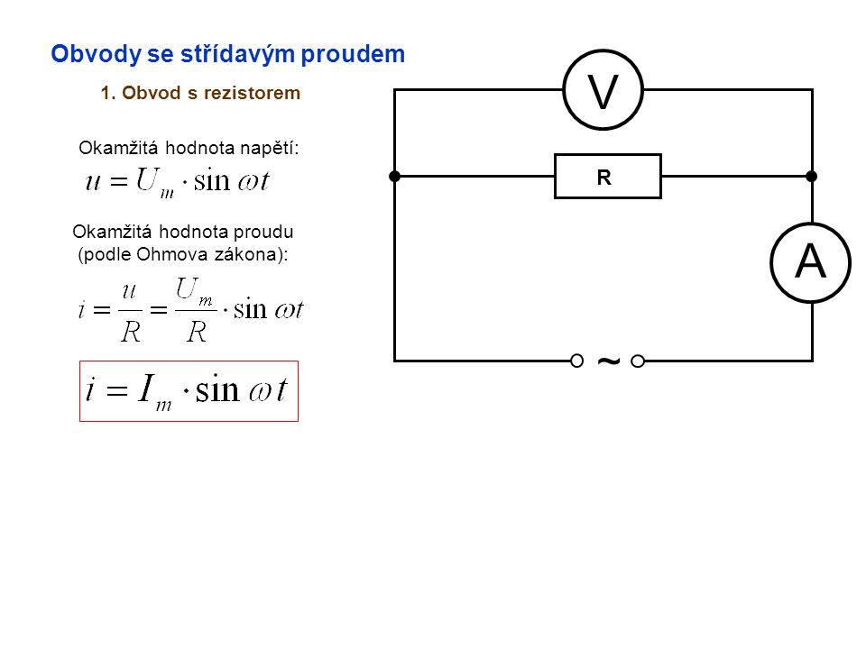 Obvody se střídavým proudem 1. Obvod s rezistorem A V ~ Okamžitá hodnota napětí: Okamžitá hodnota proudu (podle Ohmova zákona): R