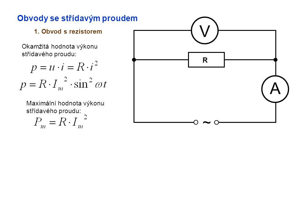 Obvody se střídavým proudem 1. Obvod s rezistorem A V ~ Okamžitá hodnota výkonu střídavého proudu: Maximální hodnota výkonu střídavého proudu: R