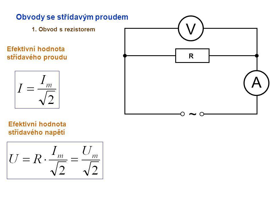 Obvody se střídavým proudem 1. Obvod s rezistorem A V ~ Efektivní hodnota střídavého proudu Efektivní hodnota střídavého napětí R