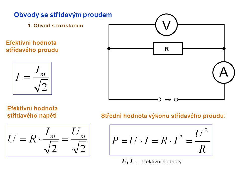 Obvody se střídavým proudem 1. Obvod s rezistorem A V ~ Efektivní hodnota střídavého proudu Efektivní hodnota střídavého napětí Střední hodnota výkonu