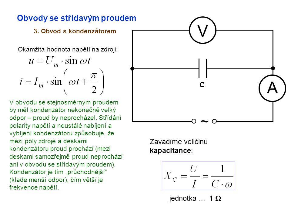 Obvody se střídavým proudem 3. Obvod s kondenzátorem A V ~ Okamžitá hodnota napětí na zdroji: C V obvodu se stejnosměrným proudem by měl kondenzátor n