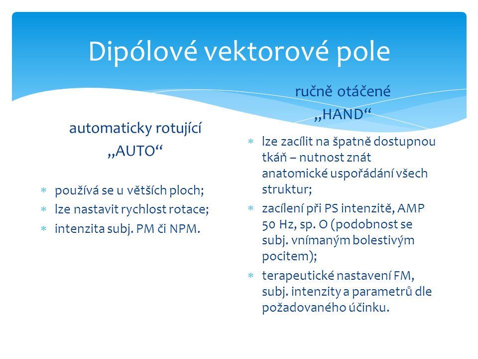 """automaticky rotující """"AUTO""""  používá se u větších ploch;  lze nastavit rychlost rotace;  intenzita subj. PM či NPM. ručně otáčené """"HAND""""  lze zací"""