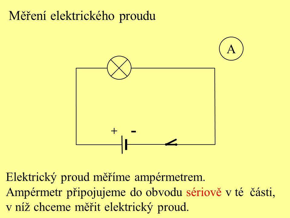 Elektrický proud měříme ampérmetrem. Ampérmetr připojujeme do obvodu sériově v té části, v níž chceme měřit elektrický proud. Měření elektrického prou