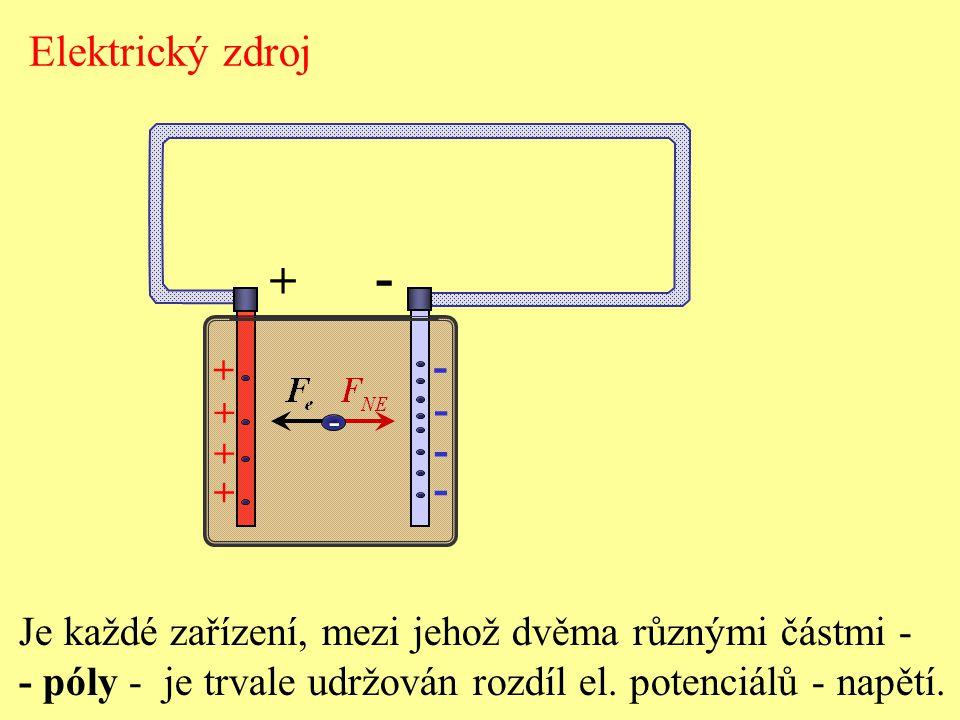 Elektrický zdroj Je každé zařízení, mezi jehož dvěma různými částmi - - póly - je trvale udržován rozdíl el. potenciálů - napětí. + - - - - - + + + +