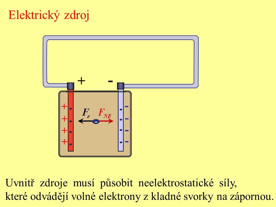 Uvnitř zdroje musí působit neelektrostatické síly, které odvádějí volné elektrony z kladné svorky na zápornou. + - - - - - + + + + - Elektrický zdroj