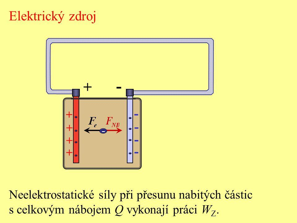 + - - - - - + + + + - Neelektrostatické síly při přesunu nabitých částic s celkovým nábojem Q vykonají práci W Z.