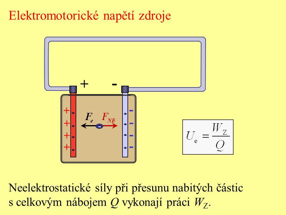 Elektromotorické napětí zdroje + - - - - - + + + + - Neelektrostatické síly při přesunu nabitých částic s celkovým nábojem Q vykonají práci W Z.