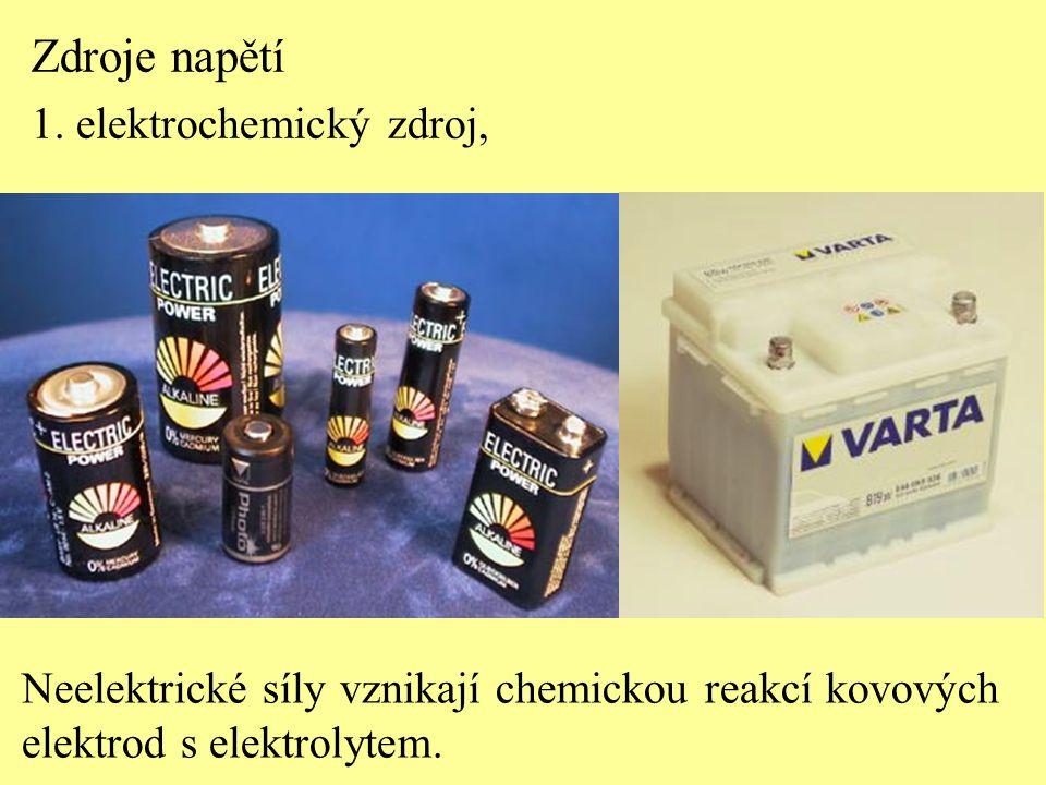 Zdroje napětí 1. elektrochemický zdroj, Neelektrické síly vznikají chemickou reakcí kovových elektrod s elektrolytem.
