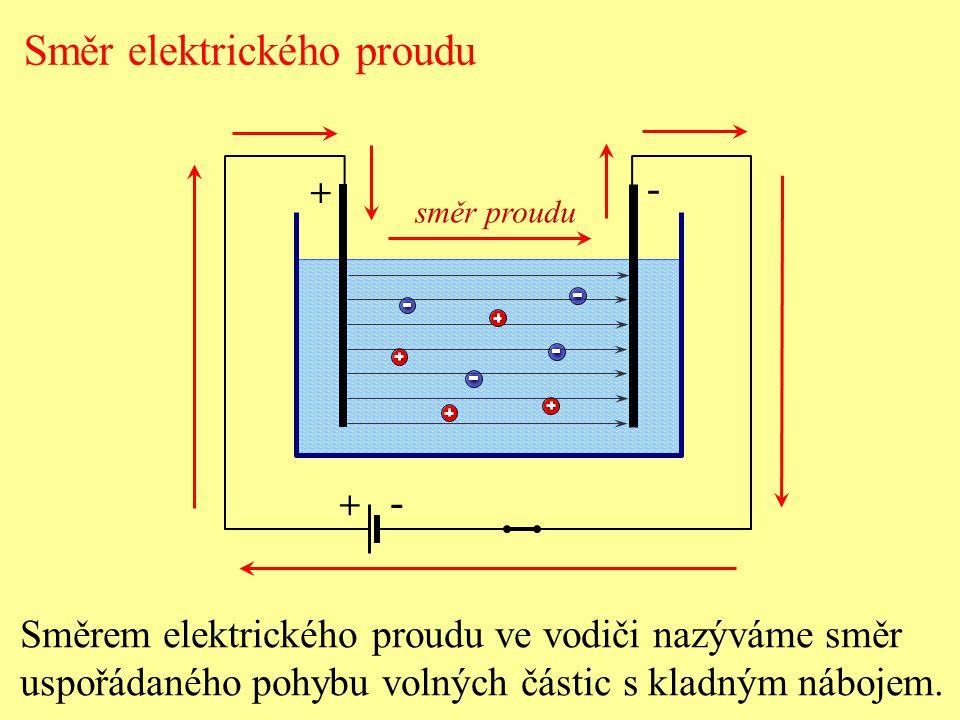 Směr elektrického proudu + - + - Směrem elektrického proudu ve vodiči nazýváme směr uspořádaného pohybu volných částic s kladným nábojem. směr proudu