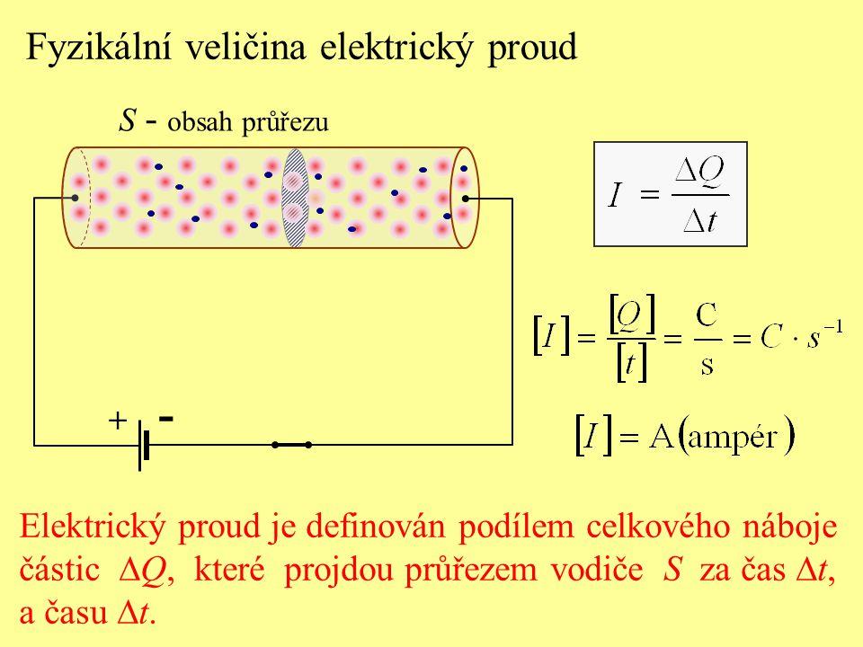 Elektrický proud je definován podílem celkového náboje částic  Q, které projdou průřezem vodiče S za čas  t, a času  t. + Fyzikální veličina elektr