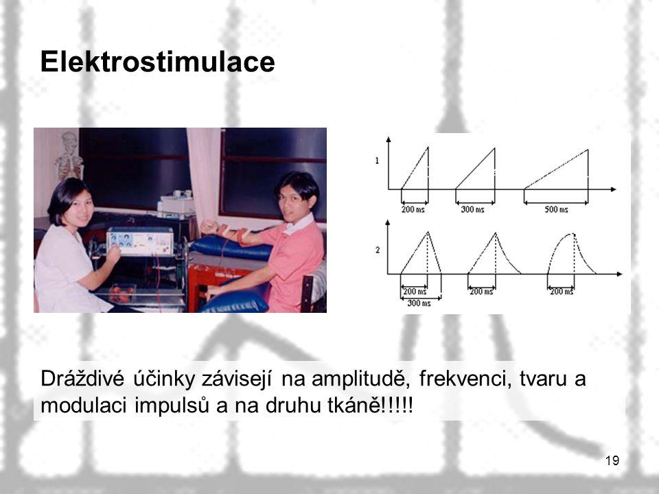 19 Elektrostimulace Dráždivé účinky závisejí na amplitudě, frekvenci, tvaru a modulaci impulsů a na druhu tkáně!!!!!
