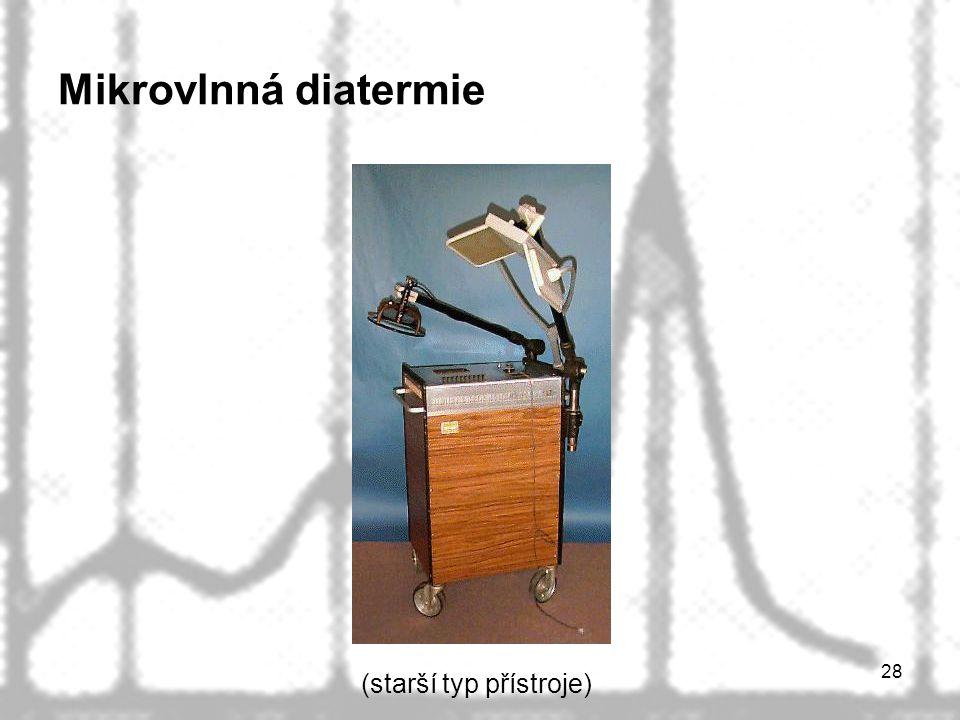 28 Mikrovlnná diatermie (starší typ přístroje)