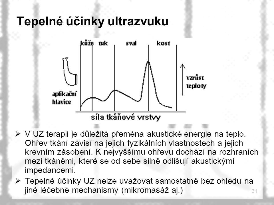 31 Tepelné účinky ultrazvuku  V UZ terapii je důležitá přeměna akustické energie na teplo. Ohřev tkání závisí na jejich fyzikálních vlastnostech a je