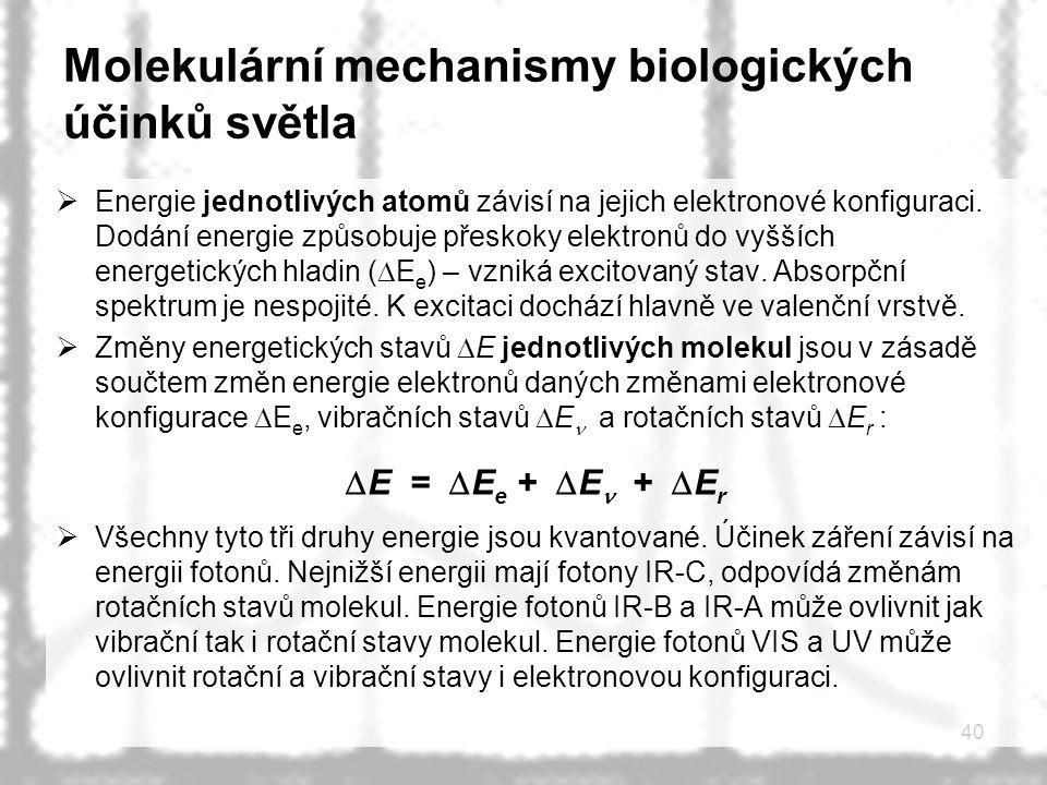 40 Molekulární mechanismy biologických účinků světla  Energie jednotlivých atomů závisí na jejich elektronové konfiguraci. Dodání energie způsobuje p