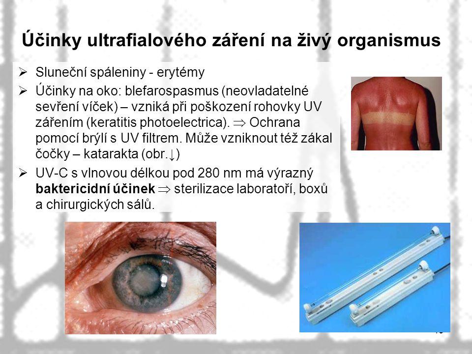 45 Účinky ultrafialového záření na živý organismus  Sluneční spáleniny - erytémy  Účinky na oko: blefarospasmus (neovladatelné sevření víček) – vzni
