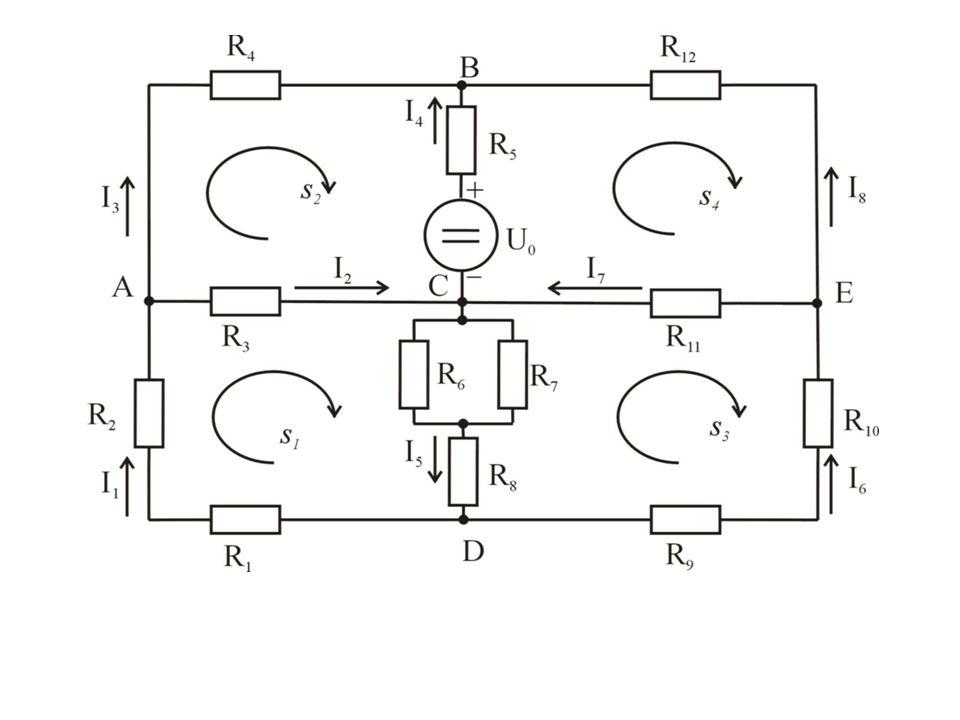 Kirchhoffovy zákony pro daný obvod: (počet nezávislých uzlů: m = 4, počet nezávislých smyček: n = 4, tzn.
