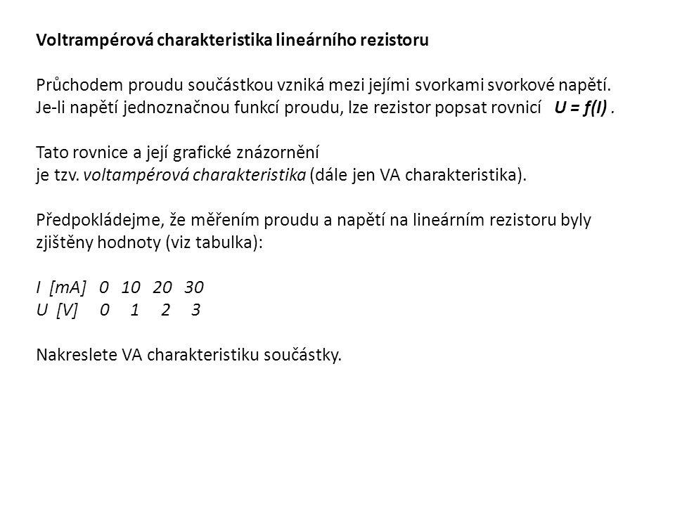 # Program v MATLABu : U=[0:3];# vytvoreni vektoru U I=[0:10:30]; # vytvoreni vektoru I plot(I,U, o-r )# vykresleni krivky cervene (r) s kulatymi body (o) title( VA charakteristika ) # titulek grafu xlabel( I [mA] ) # popisek osy x ylabel( U [V] ) # popisek osy y show(800,600) # zobrazeni grafu ( jen pro OCTAVE)