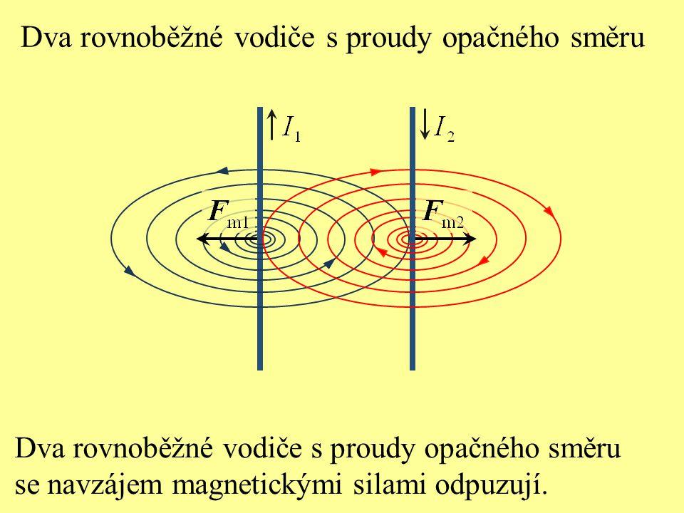Dva rovnoběžné vodiče s proudy opačného směru se navzájem magnetickými silami odpuzují. Dva rovnoběžné vodiče s proudy opačného směru
