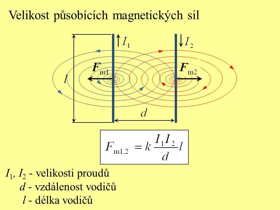 Velikost působících magnetických sil I 1, I 2 - velikosti proudů d - vzdálenost vodičů l - délka vodičů