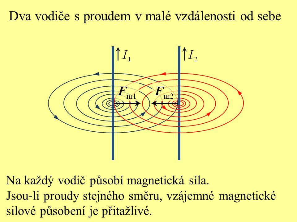 Dva vodiče s proudem v malé vzdálenosti od sebe Na každý vodič působí magnetická síla. Jsou-li proudy stejného směru, vzájemné magnetické silové působ